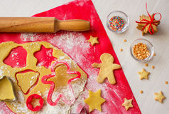 Cooking gingerbread in process. Christmas cookies royalty free stock image