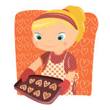 Cooking girl. Pretty girl prepare cookies hearts Royalty Free Illustration