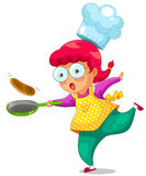 Cooking girl. Little girl cooking with a frying pan Stock Photos