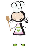 Cooking girl. Cooking little girl - illustration isolated on white stock illustration