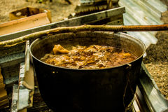Cooking goulash outdoors Royalty Free Stock Photos