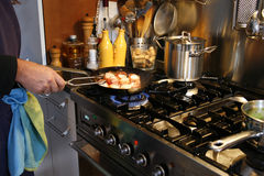 Cooking a gourmet dinner Stock Image