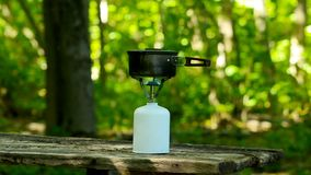 Cooking in a green forest. stock video footage