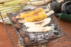 Cooking on the grid. Bananas and maize are leather on grids and sold Stock Photo
