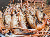Cooking grill shrimp Royalty Free Stock Images
