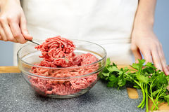 Cooking with ground beef Royalty Free Stock Image