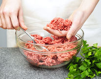 Cooking with ground beef Stock Photo