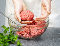 Cooking with ground beef Stock Photography
