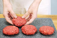 Cooking with ground beef Stock Images