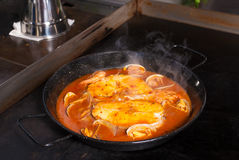 Cooking hake Royalty Free Stock Images