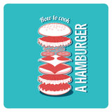Cooking of hamburger vector vintage poster Royalty Free Stock Photography
