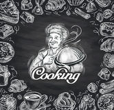 Cooking. hand-drawn chef and the food. vector illustration Royalty Free Stock Image