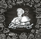 Cooking. hand drawn chef and the food. vector illustration Royalty Free Stock Image