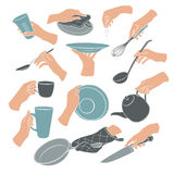Cooking hands icons. Cooking hands in flat stile  on white background. Woman hands holding kitchen items. Teapot, cup, knife, spoon, ladle, lid, whisk, plate Stock Image