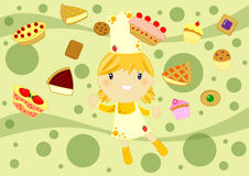 Cooking happy girl. Illustrated card with a cute little cook and many cakes on an green abstract background Royalty Free Stock Photography
