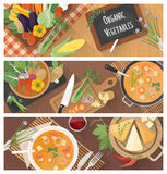 Cooking and healthy eating. Banner set with tasty soup recipe and food preparation at home Stock Photos