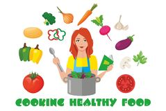 Cooking healthy food stock illustration
