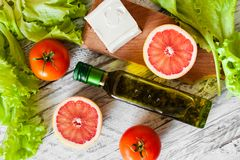 Salad with chicken, grapefruit, cheese and tomatoes stock image