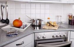 Cooking hokkaido pumpkin soup Royalty Free Stock Photos