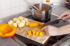Cooking hokkaido pumpkin soup Stock Photos