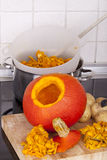 Cooking hokkaido pumpkin soup Stock Image