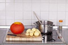 Cooking hokkaido pumpkin soup Royalty Free Stock Images