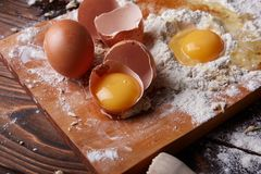 Cooking at home concpet. Healhty food. Wooden flour. Royalty Free Stock Photography