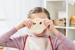 Cooking at home, girl in kitchen, making dough, healthy food concept Royalty Free Stock Photo