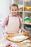 Cooking at home, girl in kitchen, making dough, healthy food concept Royalty Free Stock Image