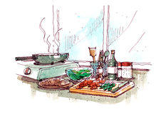 Cooking at home watercolour painting illustration Royalty Free Stock Images