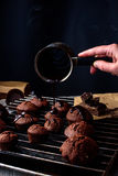 Cooking homemade chocolate cakes Royalty Free Stock Images