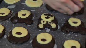 Cooking homemade cookies, brown dough,cakes Bears. Cooking homemade cookies, brown dough stock video