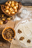 Cooking homemade dumplings with mushrooms Royalty Free Stock Photo