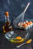 Cooking homemade mayonnaise sauce. Stock Photo