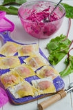 Cooking homemade pasta ravioli Stock Image