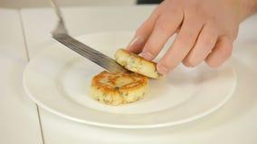 Cooking homemade potato pancakes stock video