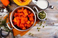 Cooking homemade pumpkin soup Royalty Free Stock Photos