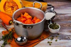 Cooking homemade pumpkin soup stock photo
