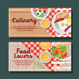 Cooking horizontal banner. Template with  kebab,salad,etc Stock Photo