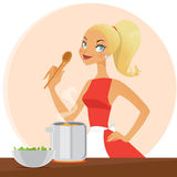 Cooking housewife Stock Photography