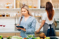 Cooking housewife healthy recipe dieting tutor stock photos