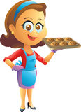 Cooking housewife. Smiling cooking housewife isolated illustration Stock Images