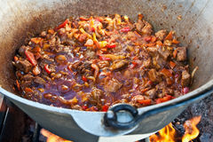 Cooking Hungarian goulash Royalty Free Stock Photography
