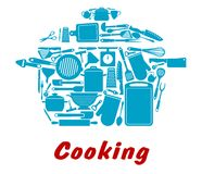 Cooking icon with kitchen utensil Stock Image