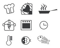 Cooking icon set. For fish meal Royalty Free Stock Photos