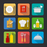 Cooking icon set flat Royalty Free Stock Photo