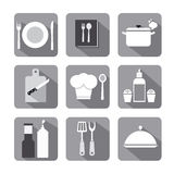 Cooking icon set flat gray Stock Photos