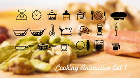 Cooking Icons animation with alpha set 1 v1 stock video