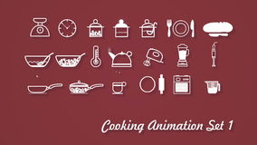 Cooking Icons animation with alpha set 1 v2 stock video footage