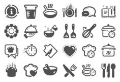 Cooking icons. Boiling time, Frying pan and Kitchen utensils. Vector